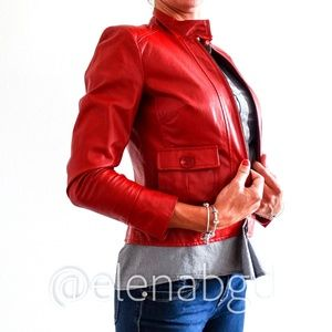 Terry Lewis Vintage Red Leather Zippered Jacket